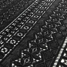 Black Guipure Lace Fabric with Banded Geometric pattern - sold by the metre