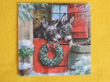 5 Servietten Esel Stallfenster Regentonne Serviettentechnik Weihnachten Rotkehl