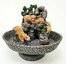 Indoor Brown Bear Family Rock Waterfall Fountain Cascade Feature Ornament w/pump