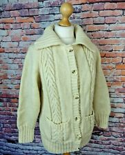 "Vintage chunky aran cable hand knit 12 bust 40"" cream wool cardigan blogger fav"