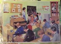 Ancien Carte Expo Affiche Set de table Poster  une Classe dans les années 1950
