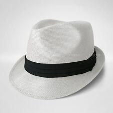 21d53b91 Straw Fedora Hat Trilby Cuban Cap Summer Beach Sun Panama Short Brim Floral