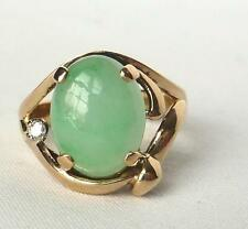 Vintage 14k Yelllow Gold Jade+Diamond Ring~Size 7~Fine Quality Mount~Mint