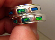 Opal Inlay Wedding Band Ring Silver Made to Order Matching Set Solid