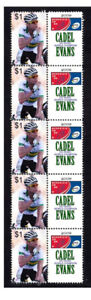 CADEL EVANS 2009 CYCLING WORLD CHAMPION STRIP OF 10 VIGNETTE STAMPS 1