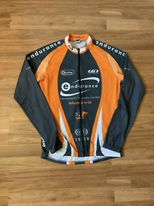 Louis Garneau Full Zip Long Sleeve Orange Gray Cycling Jersey Size Large