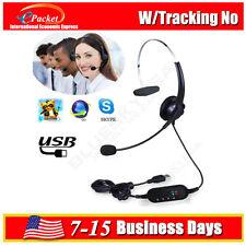 USB Headset Stereo Sound Headphone Telephone Computer Operator Microphone HOT