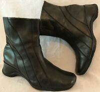 Essence Black Ankle Leather Lovely Boots Size 5EEE-6EEE (460v)