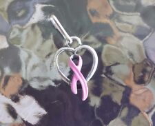 2 HEART BREAST CANCER AWARENESS PINK RIBBON ZIPPER PULLS or  PENDANTS ALL NEW.