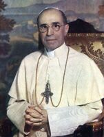 """Holy Card of Venerable Pope Pius XII Plus a Large 1 3/4"""" Miraculous Medal"""