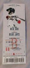 Boston Red Sox Vs Toronto Blue Jays 9/6/17 unused MLB Ticket