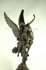 """SIGNED bronze sculpture winged GLORIA statue, """"GLORIS VICTIS"""""""
