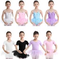 Girls Kids Ballet Dance Dress Ballerina Backless Leotard Tutu Skirt Dancewear