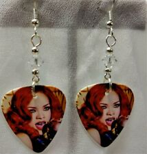 Rihanna with Red Hair Guitar Pick Earrings with Clear Swarovski Crystals