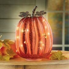 Lovely Glass LED Lighted Pumpkin Thanksgiving Table Centerpiece
