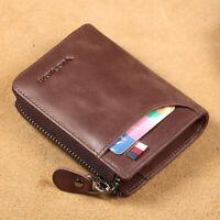 100% Genuine Leather Men's RFID Blocking Wallet Coin Purse Business Card Holder