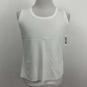 New Exclusively Misook Womens Signature Acrylic Stretch Knit Vest White Sz Large