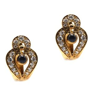 Vintage 14K Yellow Gold Earrings Leverbacks Crystal Studded Blue Cabochon Center