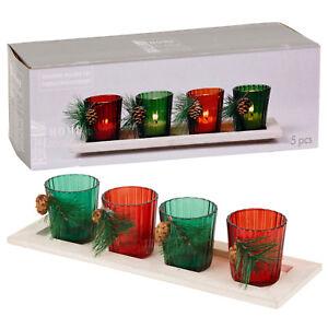 Christmas Glass Tealight Candle Holder Wooden Tray Xmas Decor Votive Gift Set