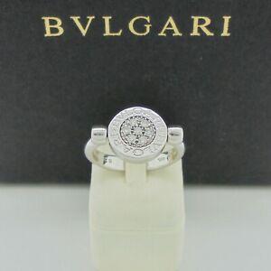 Authentic Bvlgari Bulgari Onyx Diamond Flip Ring in 18k White Gold Size 52