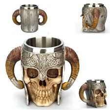 Handy Stainless Steel Gothic 3D Skull Mug Drinkware Beer Skeleton Viking Warrior