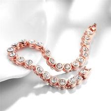 Fashion Jewelry 6MM Bead Round Gems Cubic Zircon Rose Gold Plated Bracelet