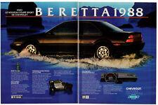 1988 CHEVROLET Beretta Vintage Original 2 page Print AD - Black car photo whale