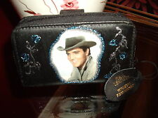 "NEW BLACK  LEATHER""  ELVIS  PRESLEY ""PICTURE PURSE /WALLET"
