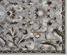Handmade Floral Brown Beige Taupe Gray Wool Area Rug 8' x 10'