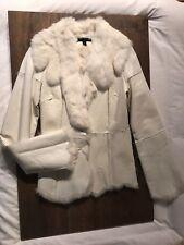 Sheri Bodell White Rabbit Fur Leather Jacket Deep V Collared Lapel V-Neck Sexy M