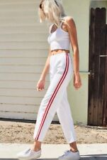 brandy melville high rise white/red stripe cotton wide leg Jogger sweatpants  S