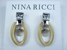 with Swarovski Crystals & Enamel 0894 Nina Ricci Rhodium Plated Pierced Earrings