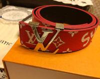 2017 LOUIS VUITTON X SUPREME MONOGRAM WHITE & RED Box Logo BELT Leather 95/38