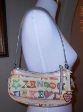 DOONEY & BOURKE Coated Canvas Doodle Novelty Graffiti Small Handbag Baguette