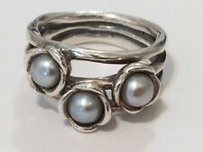 Authentic Pandora Silver Three Wishes Grey Pearl Ring 190606 Size 50