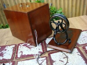 Vintage Old Antique Case & Hand Crank For Sewing Machine Wilcox Willcox & Gibbs