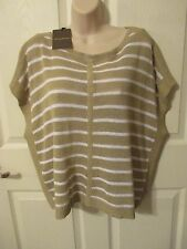 NWT - TOMMY BAHAMA Linen blend Sweater/Top - Tan & White - sz M - MSRP $98.00