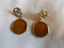 Pierced Gold Tone Dangle Earrings Vintage Mid Century Amber Lucite Glass