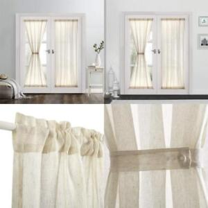 Dreaming Casa Sheer French Door Curtains Linen Textured Two Panels Rod Pocket 72