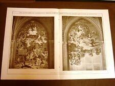 Stampa enorme del 1910 Pitture di Lodovico Seitz Basilica San Antonio di Padova