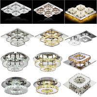 Modern Crystal Ceiling Light LED Pendant Lamp Flush Mount Chandelier Fixture 48W