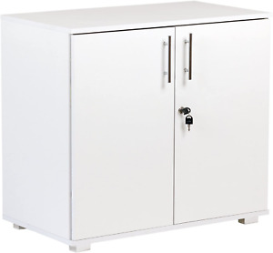 White Office Storage Cupboard Desk Height 2 Door Bookcase with Lock 73cm Tall