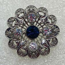 Vintage FLOWER BROOCH Pin Blue & Clear Glass Rhinestone Costume Jewelry SALE