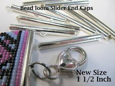 End Caps Slider Clasps, 1 1/2 Inch Silver, 8 Piece/4 Sets