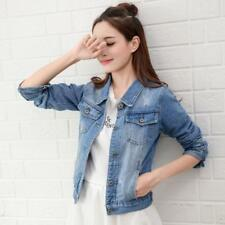 HOT Women Short Denim Jeans Jacket Casual Long Sleeve Street Style Jacket Coat