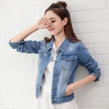 HOT Women Short Denim Jeans Jacket Casual Long Sleeve Street Style Jacket Coat