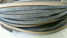 50cm Cordon plat imitation cuir gris argenté  5x2mm