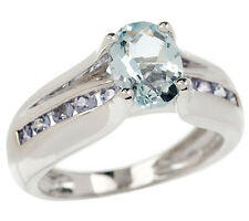 QVC Sterling Silver Oval Aquamarine Round Tanzanite Ring Size 6 QVC Sold Out!