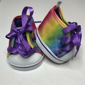 Build A Bear High BAB High-Top Rainbow Shoes With Purple Laces