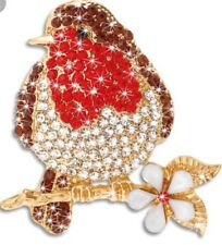 Robin Red Breast Brooch Austrian Crystal Gold Tone Winter Bird Broach